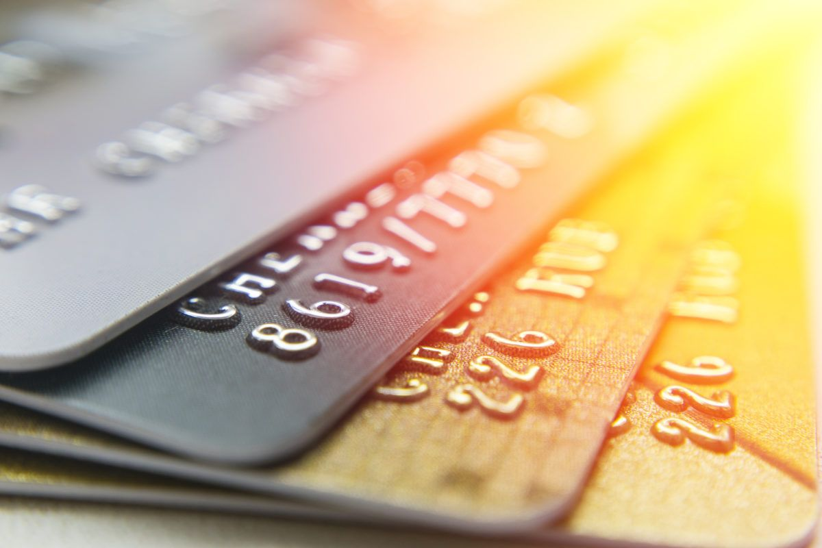 credit cards stacked, credit card debt causing bankruptcy