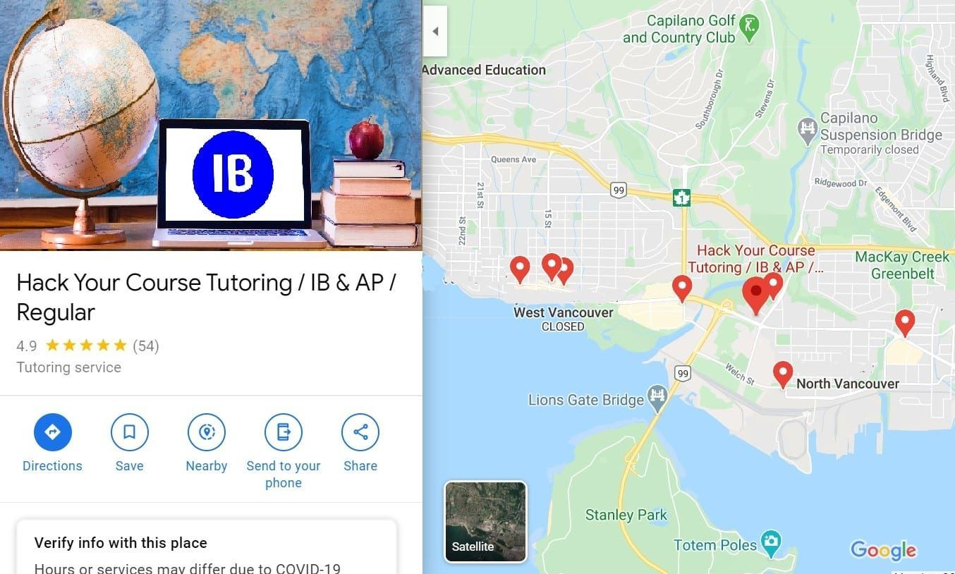 MAP FOR HACK YOUR COURE IB TUTORING AND AP TUTORING SERVICE IN WEST VANCOUVER