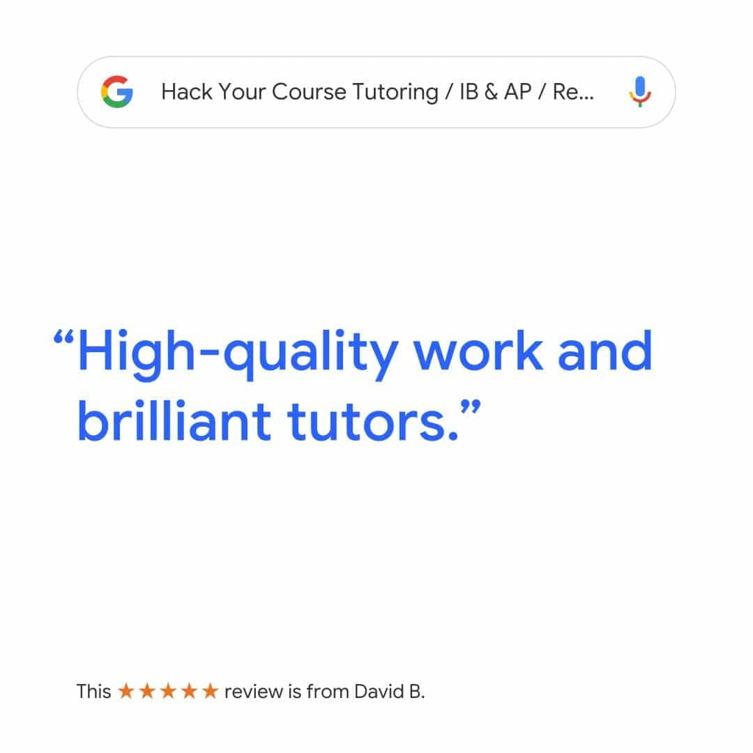 "google review ""high quality work and brilliant tutors"" with hack your course tutoring service"