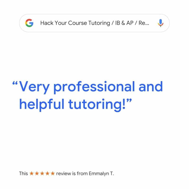 review from Emmalyn for Hack Your Course IB & AP online & in-home tutoring service in North & West Vancouver