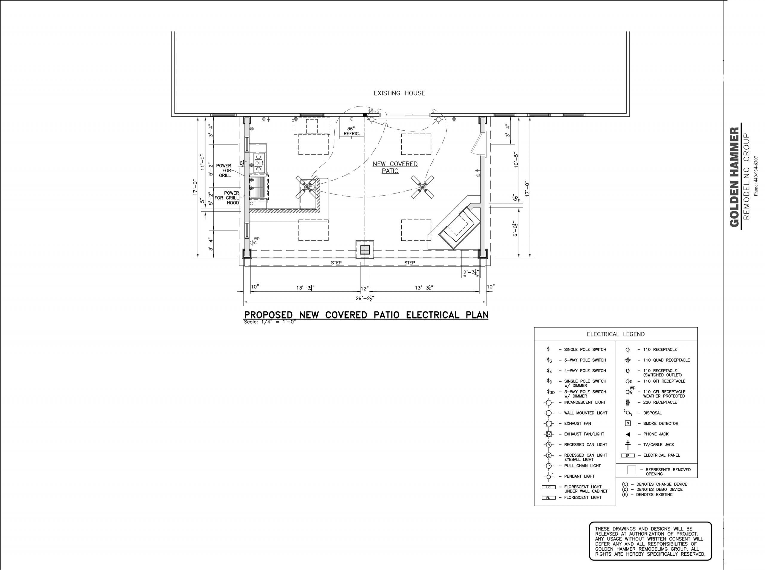 covered patio electrical plans