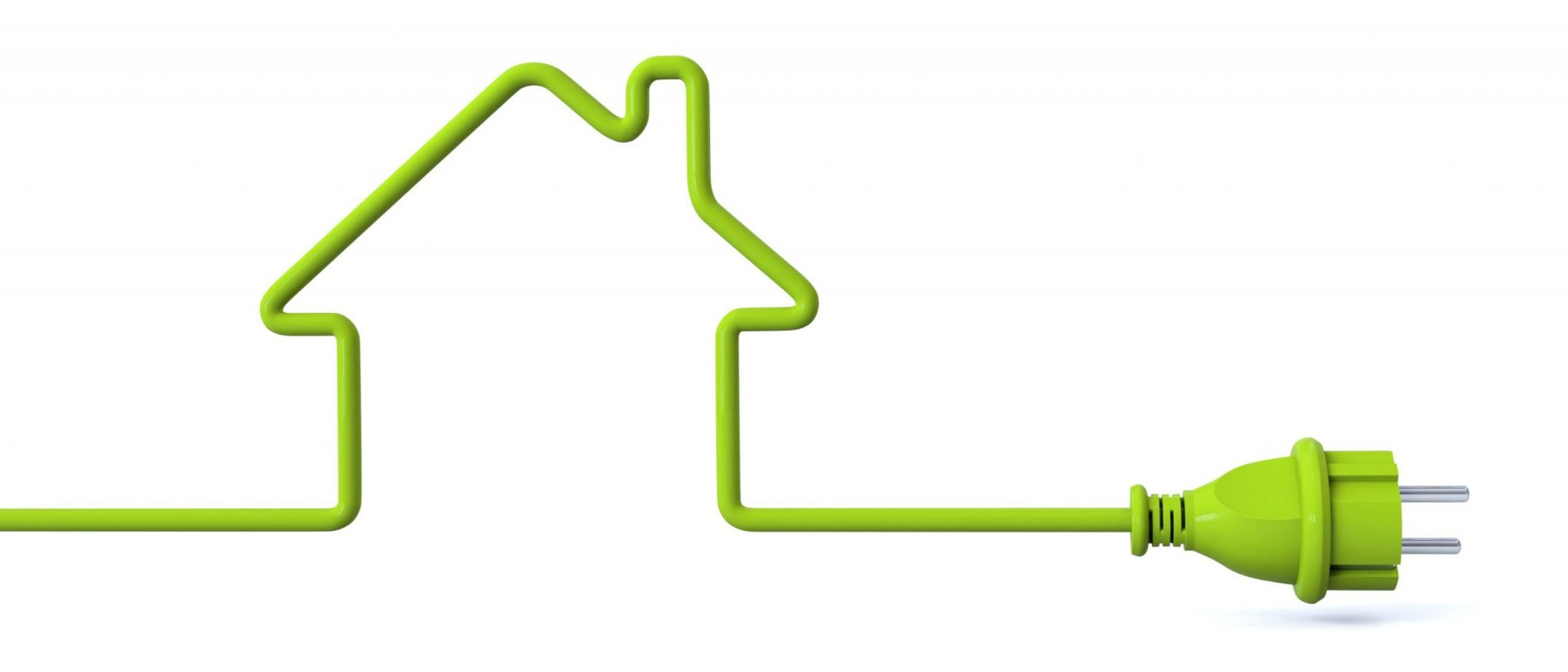 Green power plug in shape of house