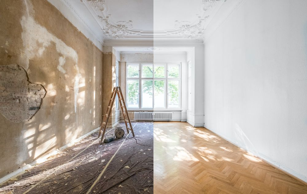 On the left, a room before restoration. On the right, the same room looking much cleaner and brighter.
