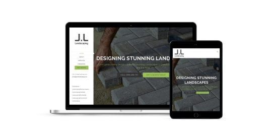 J Lynn Landscaping - home page on multiple screen