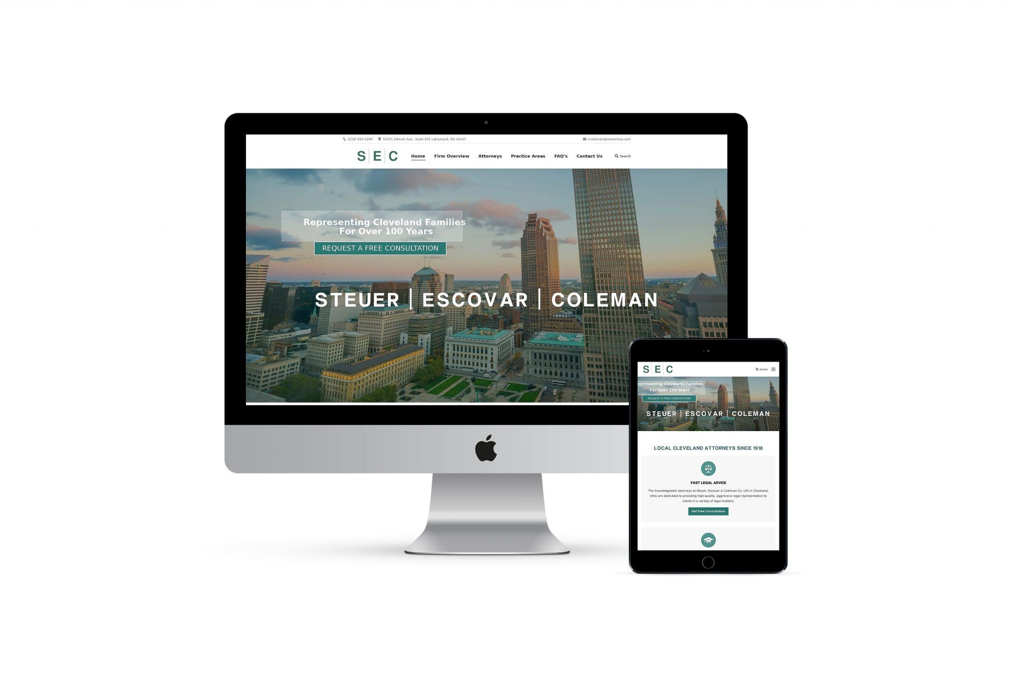 Steuer Law home page on different smart screens