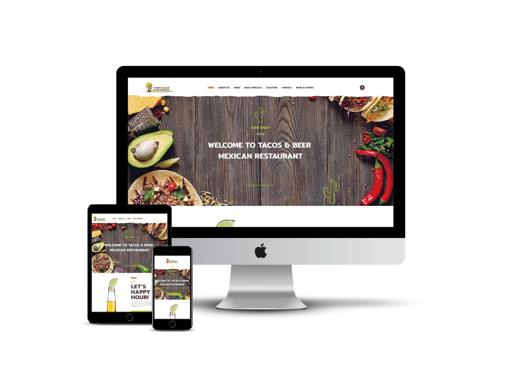 Taco and beer - home page on different smart screens