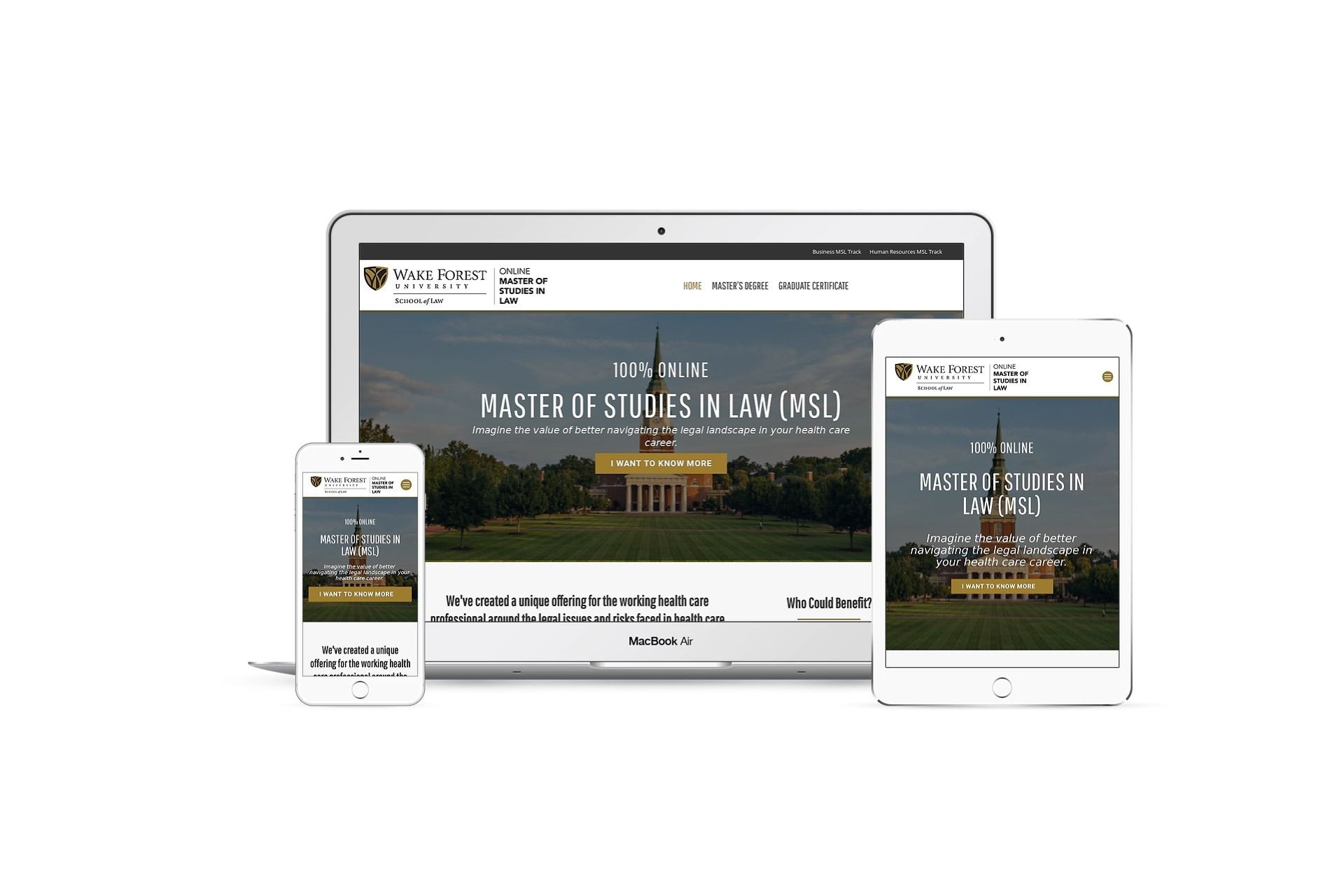 Wake Forest Healthcare MSL - home page on different smart screens