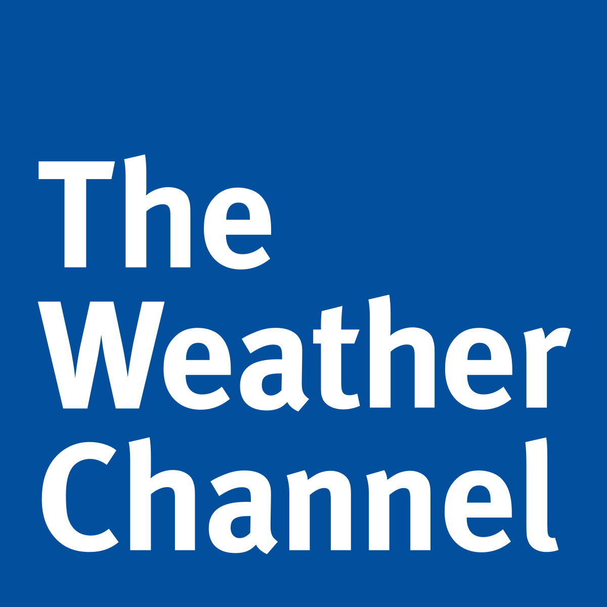 The weather channel written on blue background