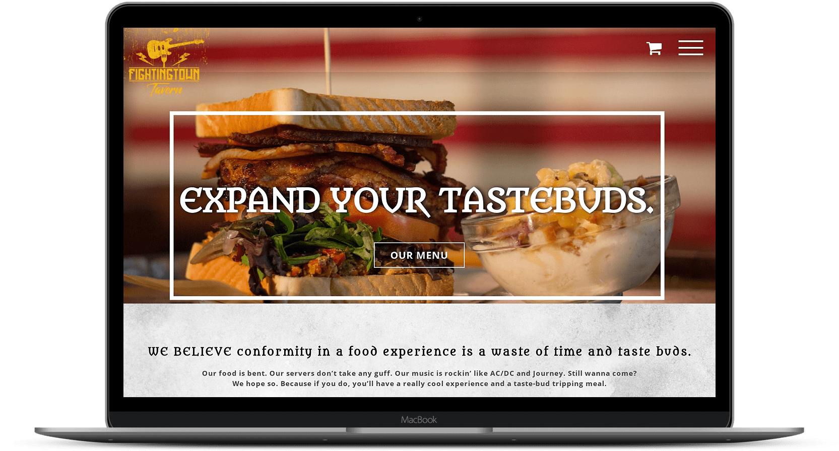 Expand your taste buds menu on screen