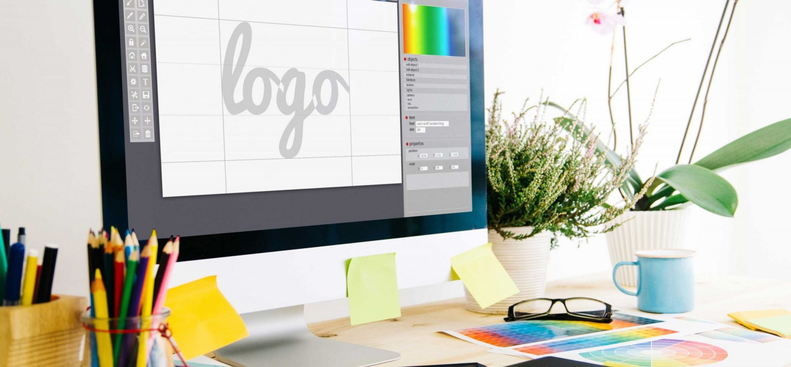 Graphic designer working on a website logo design for small business