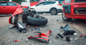 car crash and motorcycle on the road