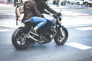 New York couple on a motorcycle