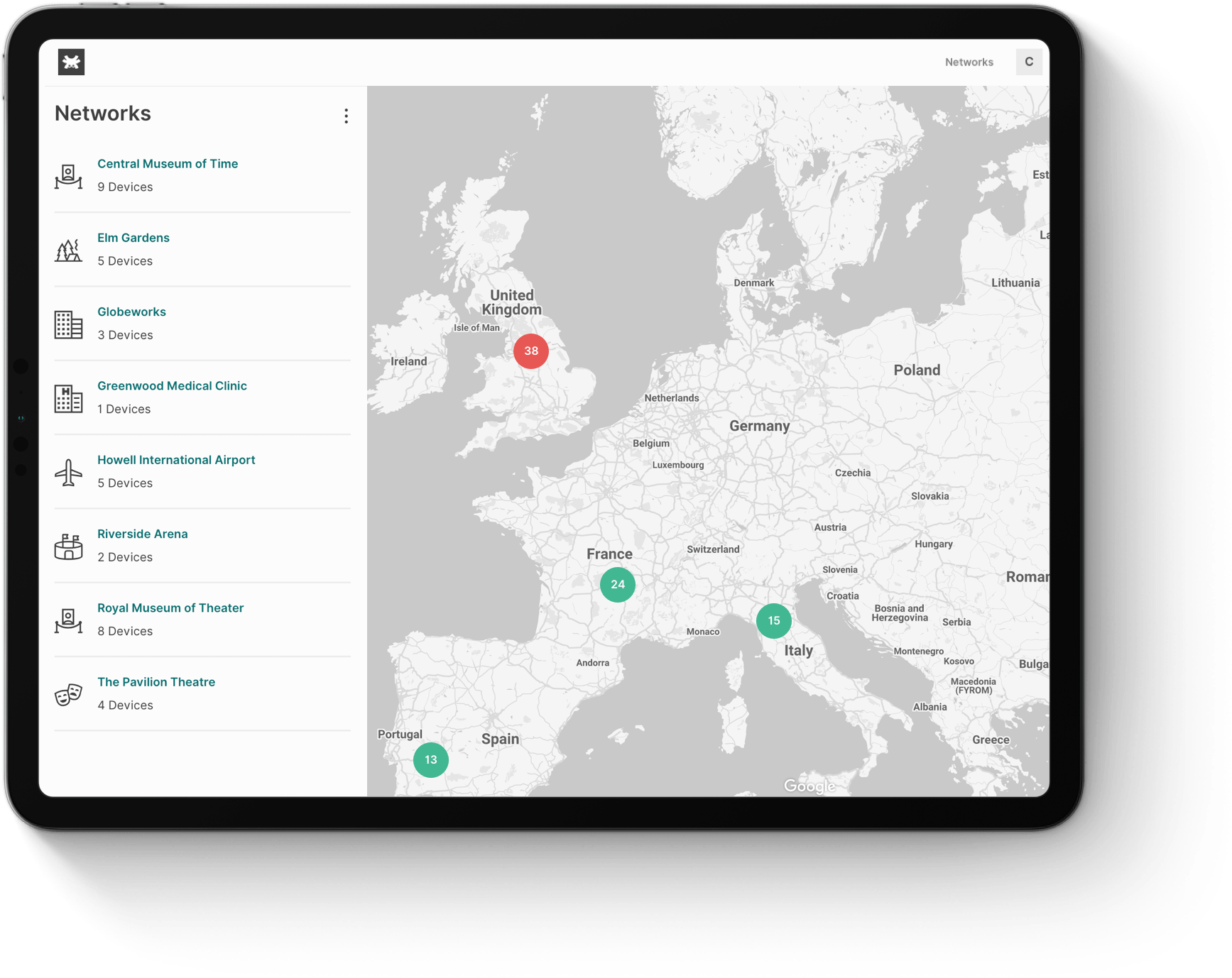 TanazaOS demo - list of connected access points