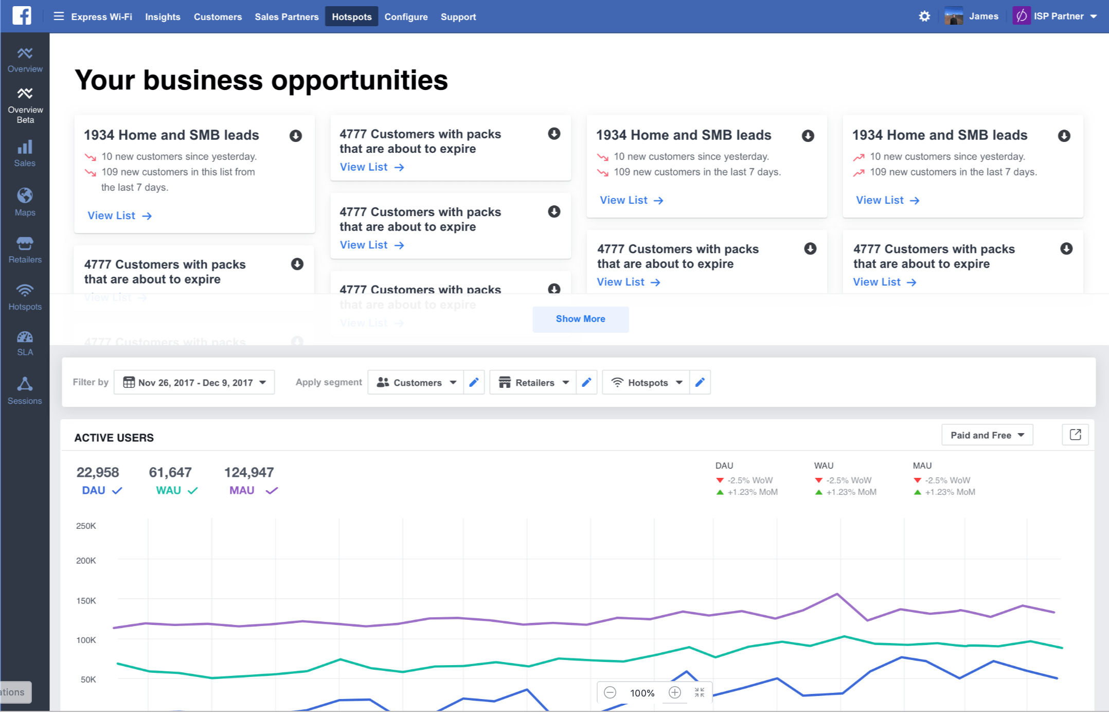 Express Wi-Fi by Facebook dashboard
