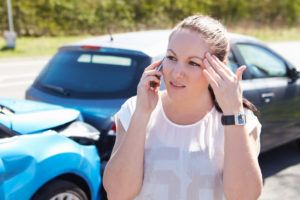 Florida woman driver calling 911 for help after a car accident