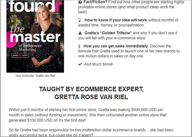Foundr webinar example of showing a lot of information about the presenter. One of the most important webinar landing page tips