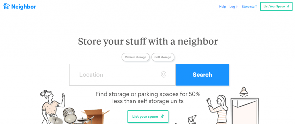 Parking rental platform neighbor.com homepage as a way to make money fast