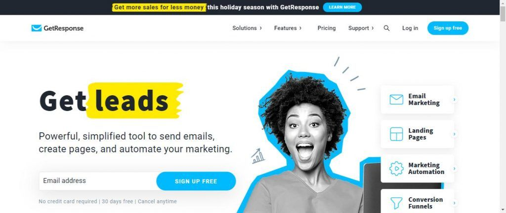 GetResponse email marketing software homeapge