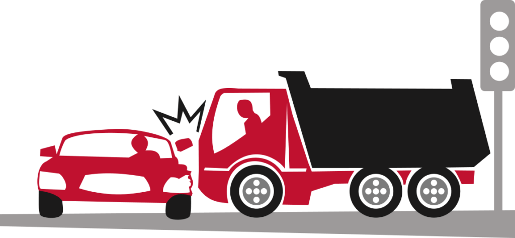 truck causing an accident by colliding with a car
