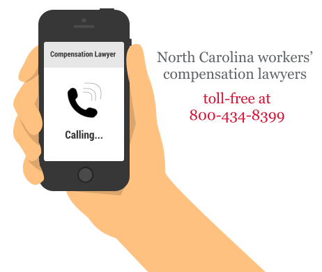 an avatar image of a hand holding a phone calling for a compensation lawyer