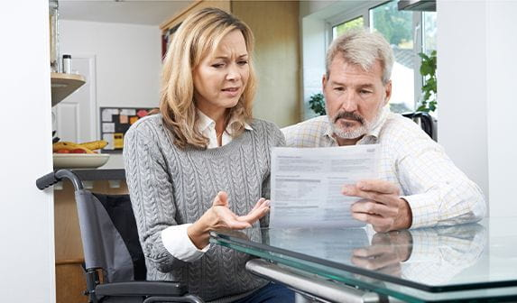 couple learning their social security disability benefits