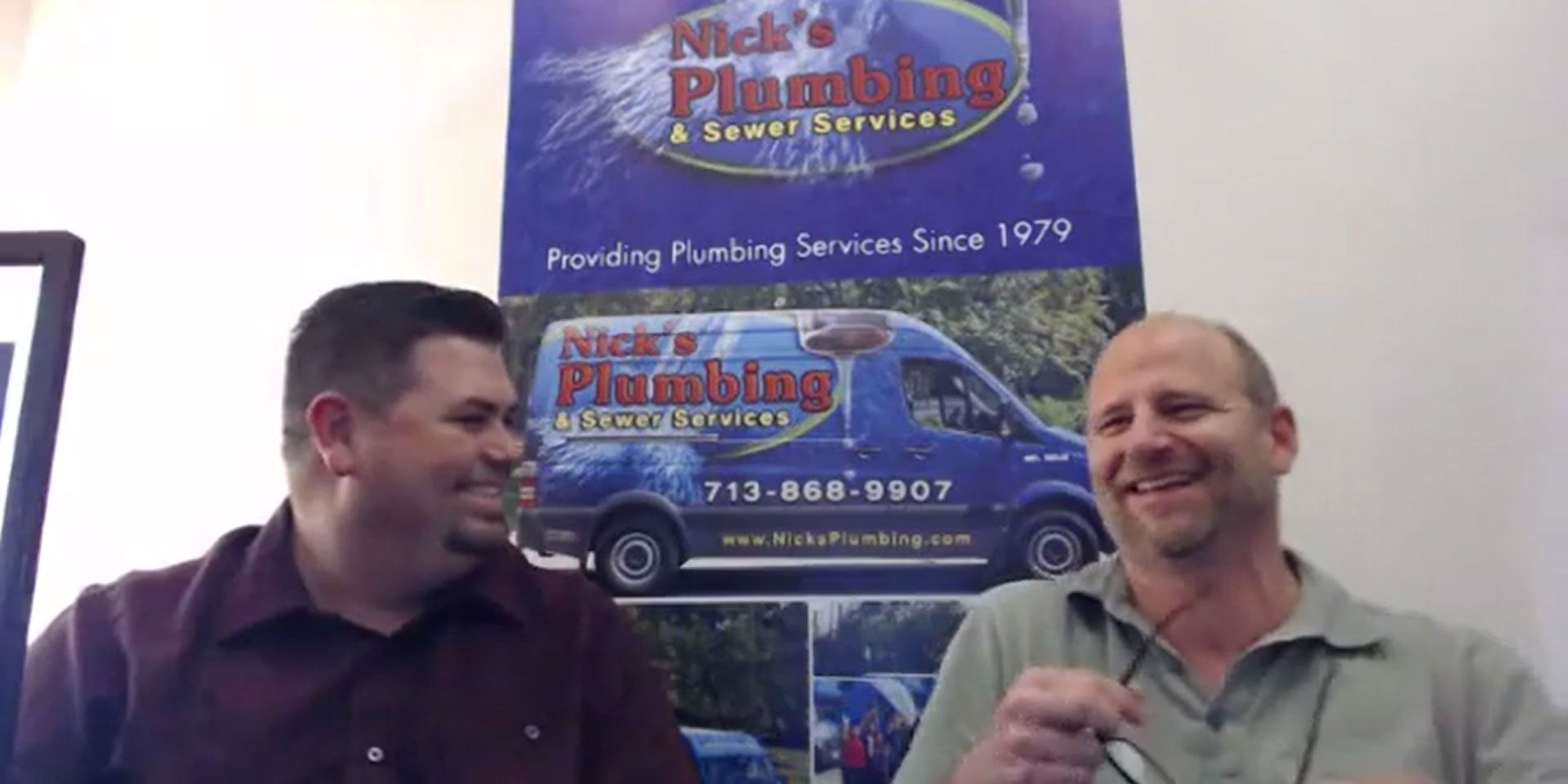 Two of Nick's Plumbing Experts in Houston Talking and Laughing