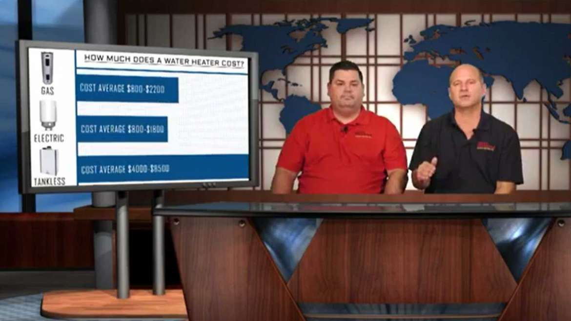 Plumbers Sitting at News Desk in Houston Discuss Costs of Water Heaters