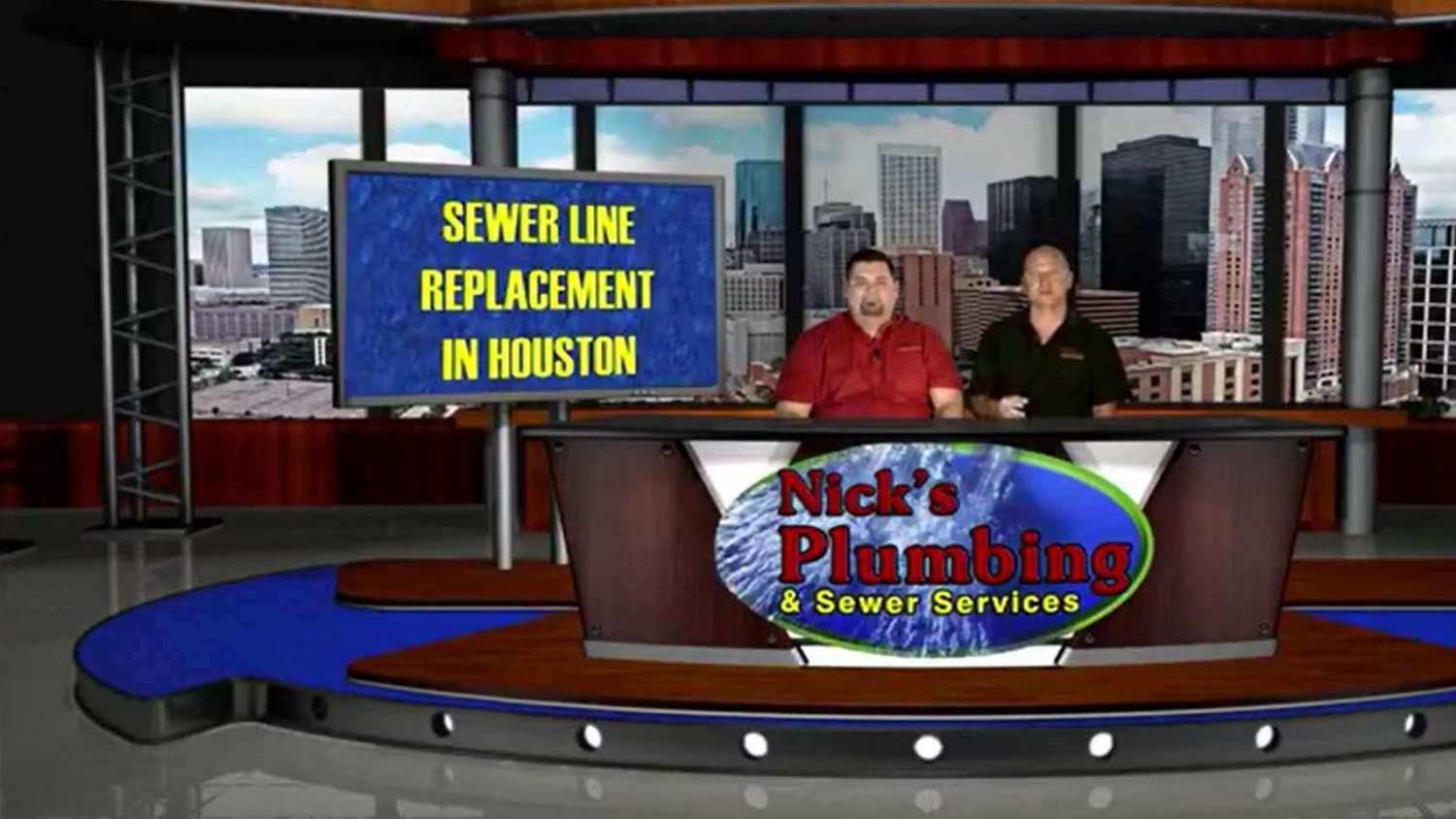 Two Experts Sitting at a News Desk in Houston Discuss Sewer Line Replacement
