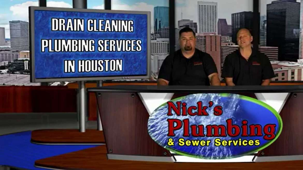 Two Experts Sitting at a News Desk in Houston Discuss Drain Cleaning