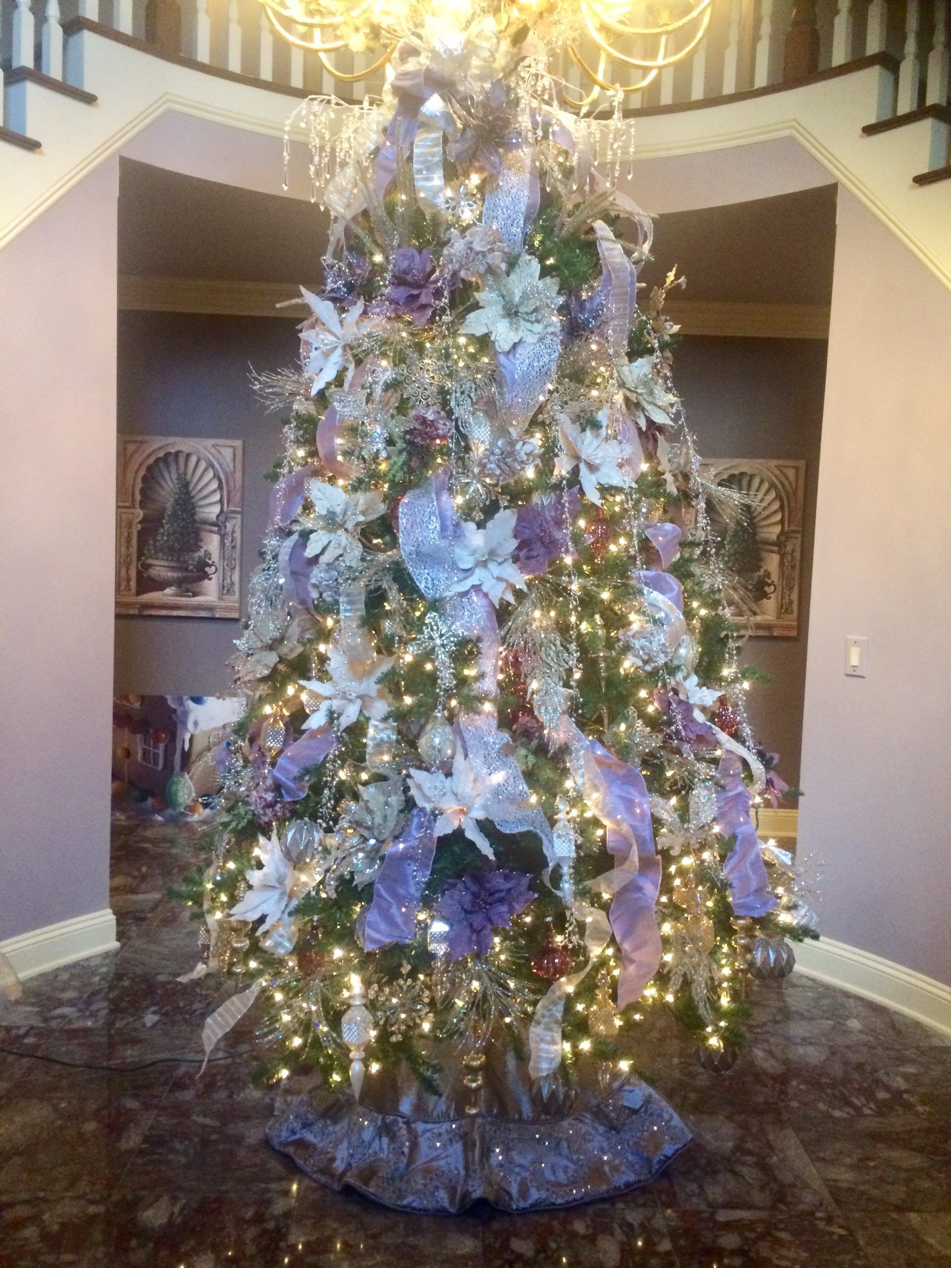 foyer christmas tree violet decor
