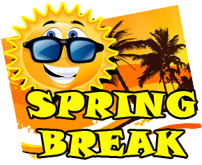 Yellow spring break with smiling sun and yellow ocean front postcard with palm trees in background on transparent background