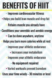 Bulleted list of benefits HIIT underlined with yellow