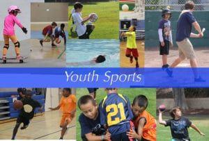 collage of youth playing sports like football, basketball swimming, baseball, volleyball, soccer, skateboarding