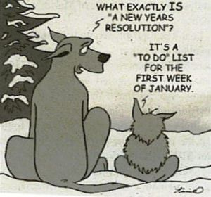 Cartoon of large dog asking small dog what New Years Resolution is in winter landscape