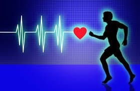 Cartoon black filled-in man running from left towards red heart with heart beat on two-tone blue background