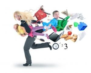 Young blonde woman in gray and black carrying little girl running away from lots of stuff flying behind her