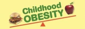 Orange seesaw with tipped to cheeseburger labeled with green childhood obesity and red apple on yellow background