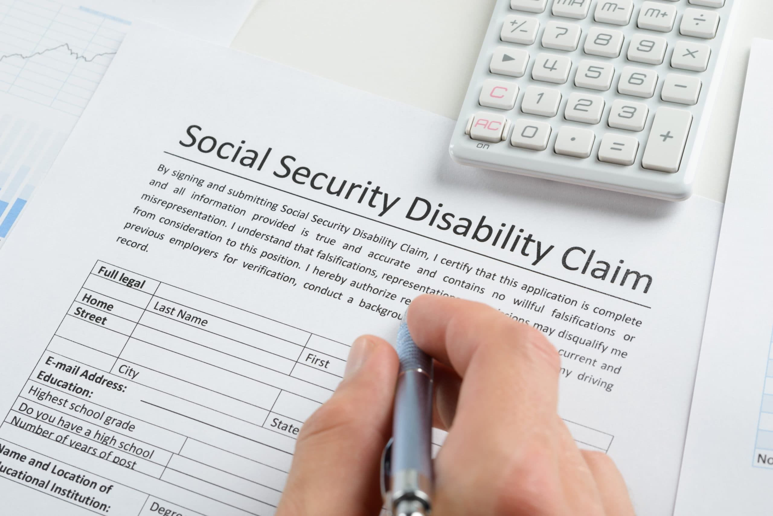 Filling up social security disability form.