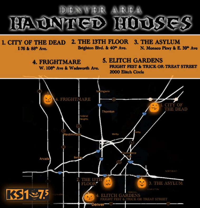 haunted houses in denver map