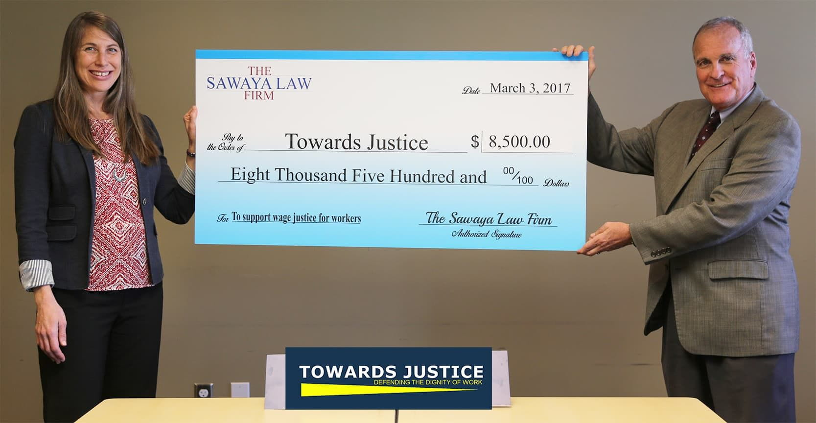 Sawaya Law Firm Orchestrates Donation to Legal Non-Profit Organization, Towards Justice