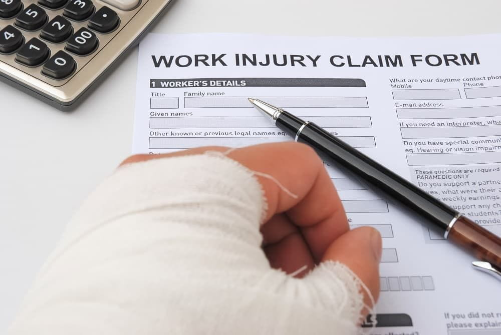 Injured man filing for work injury claim.