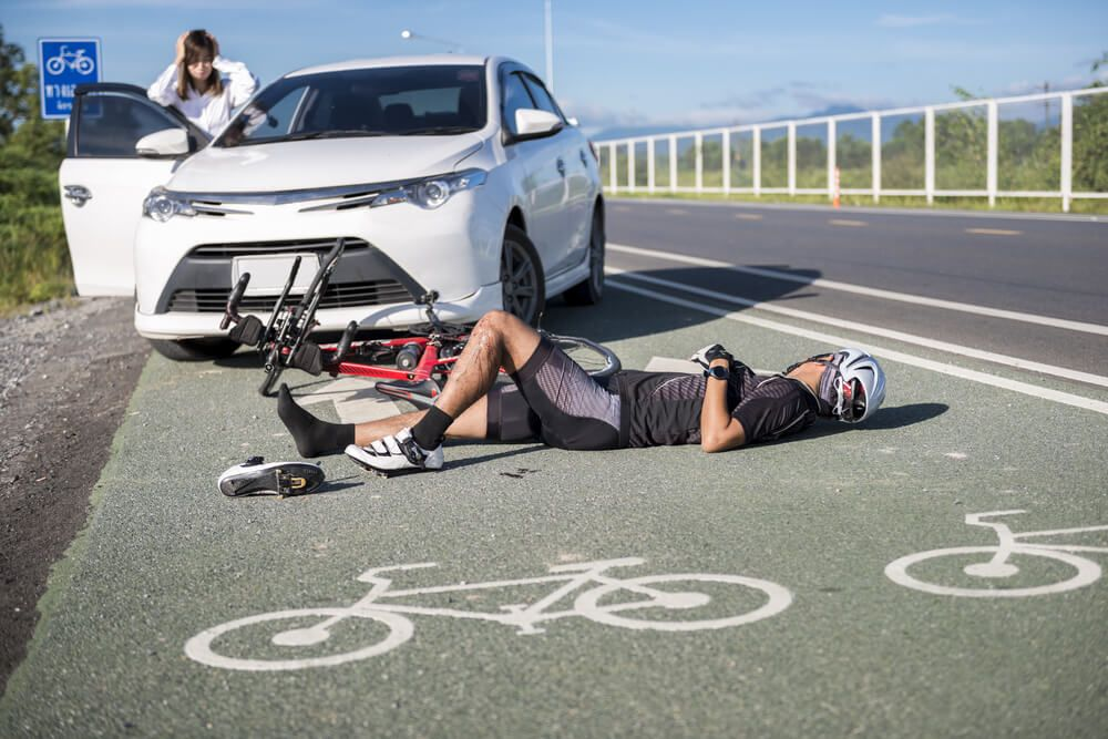 A man is injured in a bicycle accident in Denver, Colorado.