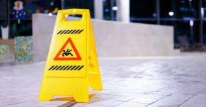 Warning sign on the ground