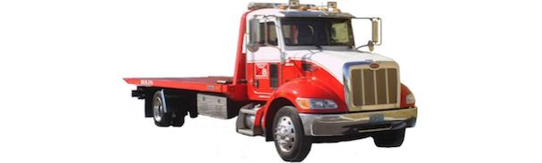 Red and white flatbed truck