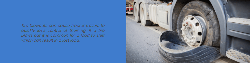 A tractor trailer has a tire blowout in GA.