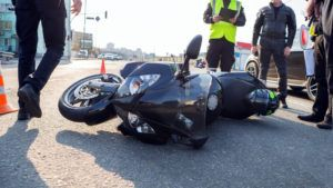 Police investigating a motorcycle accident in Atlanta, Georgia.