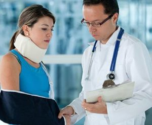 Lady Injured and in a Arm Sling