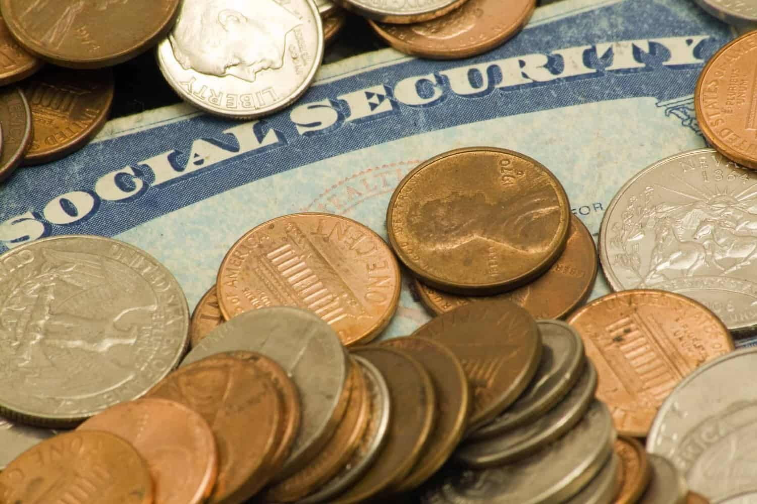 Social Security card surrounded by coins