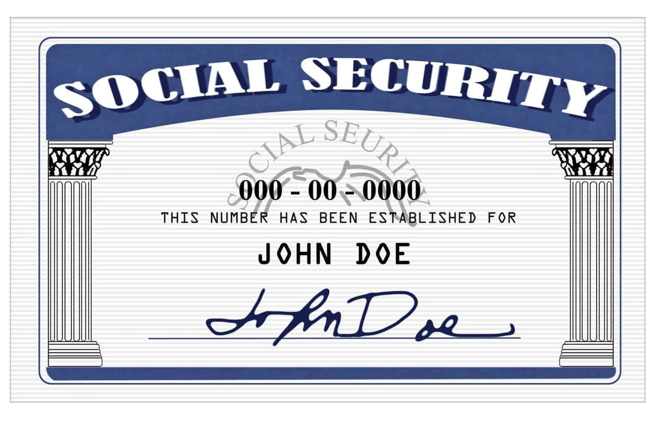 Mock up of Social Security Card
