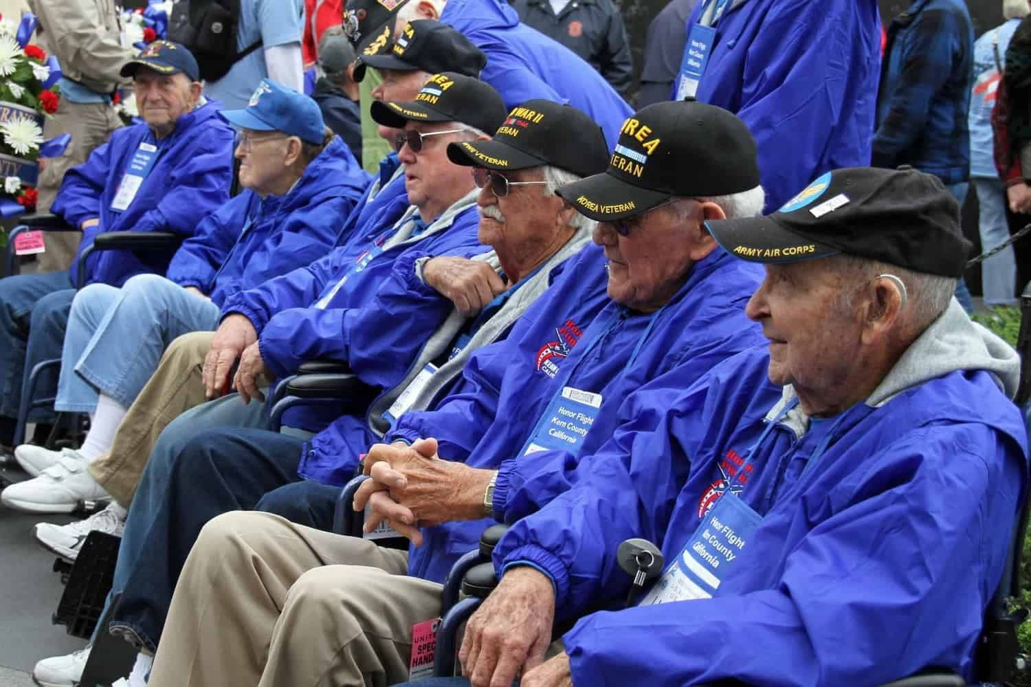 Veterans sitting in a row